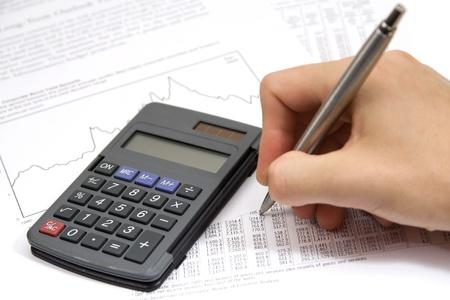 economist: Economist in action - economic sheet, graph, calculator and pen