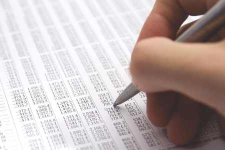 economist: Sheet (table) with numbers - economist in action