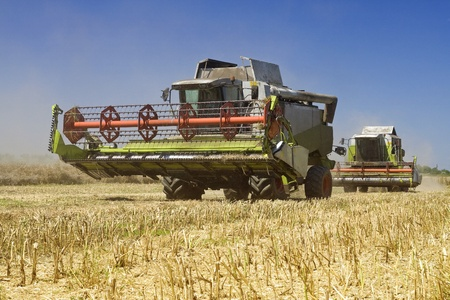 combines: Agriculture - Combines (harvesters) on the field