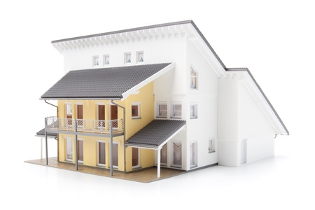 realty residence: Model of the family house isolated on white background