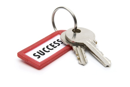 keys isolated: Keys on white background and ticket with notice success