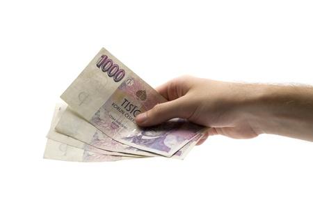 valuta: Paying with czech koruna - studio shot with white background