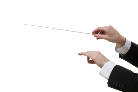 Male orchestra conductor hands, one with baton. White background. photo
