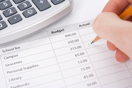economize: Students budget concept - printed budget and student write in chart actual values.