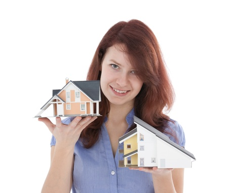 real estate agency: Estate agency client choose new house represented by model  Real estate agent helps select house