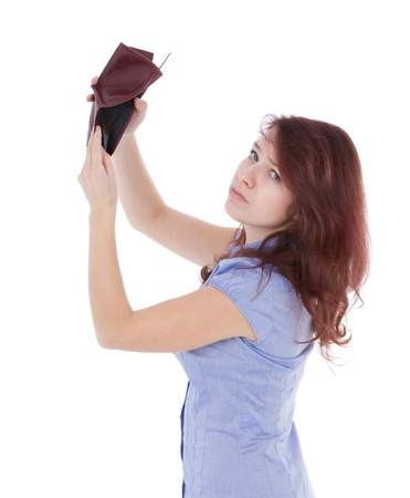 impoverished: Poor sad girl with empty wallet  Be penniless concept