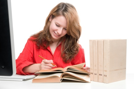 gen: Student with computer and books - e-learning concept