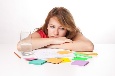 ruminate: Bored college student is having a rest during studying for exam