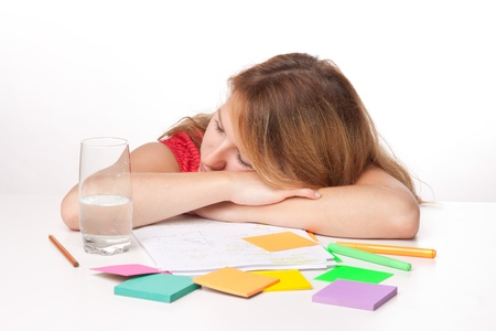 boffin: Tired college student is having a rest during studying (swot up) for exam
