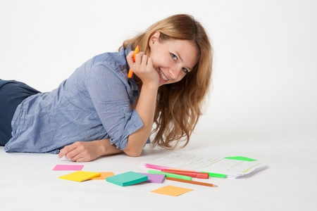 boffin: College student studying (swot up) for exam  Stock Photo