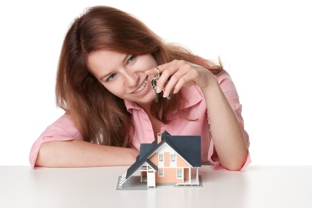 real estate agency: Happy estate agency client with keys