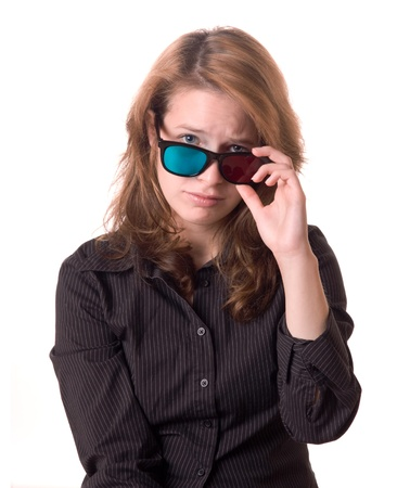 pathetic: Sad young woman with anaglyph 3-D glasses