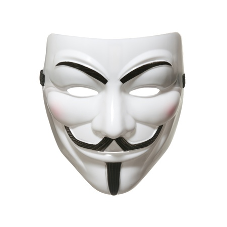 masque visage: Studio photo d'un masque Anonymous, connu sous le nom de Guy Fawkes masque du film V pour Vendetta sur fond blanc