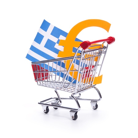 greek flag: Greek crisis with Euro currency concept  Gross domestic product concept   Stock Photo