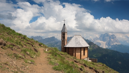 Dolomites, Fanes Group, Col di Lana peak and votive chapel. photo