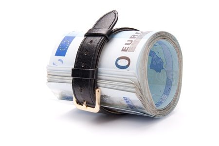 straps: Euro money concept - tighten belt. Spend less money.  Stock Photo