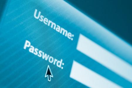 password: Entrar o registrarse formulario con los campos de nombre de usuario y contraseña Foto de archivo