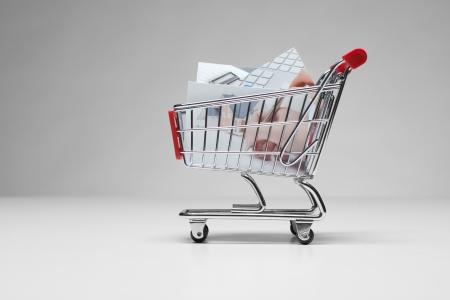 microstock: Stock  microstock  photos concept  Shopping cart with printed stock photos