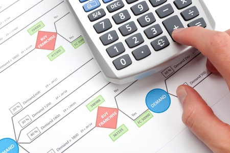 franchise: Making business decision about franchise  franchising   Printed decision tree and man calculating on calculator