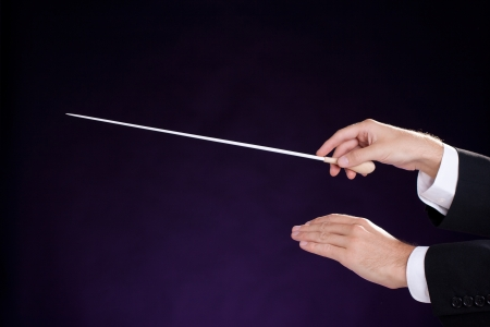 Male orchestra conductor hands, right with baton  Purple background   photo