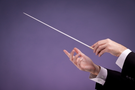 conductor: Male orchestra conductor hands, one with baton. Purple background. Stock Photo