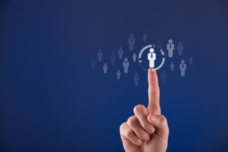 career icon: Human resources officer choose employee standing out of the crowd  Select team leader concept  Male hand click on man icon  Negative space in left side, blue background