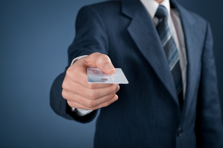 credit card payment: Businessman in business suit pay by credit card.