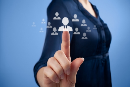 Human resources, CRM and social media concept - officer choose person represented by icon