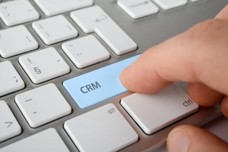 relation clients: concept de gestion homme cl� de la relation client CRM de presse de CRM sur le clavier de l'ordinateur Banque d'images