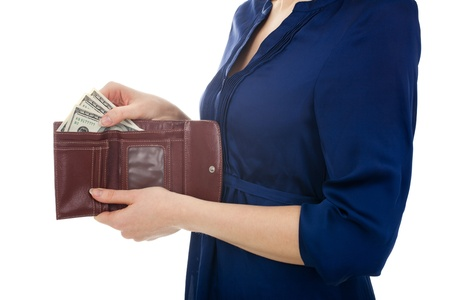 payday: Woman take dollar money  three hundreds  out from wallet  White background  Stock Photo