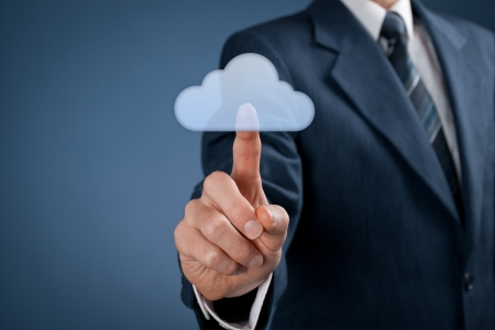 Cloud computing concept  Man click on cloud icon ahead  Selective focused on finger