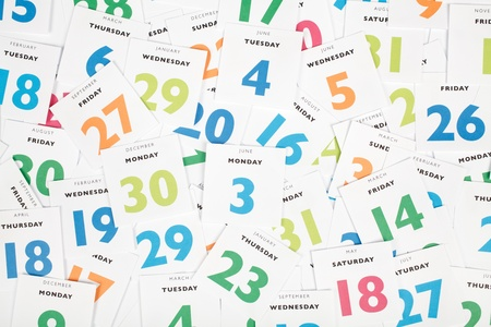calendar date: Calendar pieces  Planning and time management concept  Top view   Stock Photo