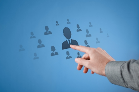segmentation: Human resources, CRM, social network and data mining concept  Stock Photo