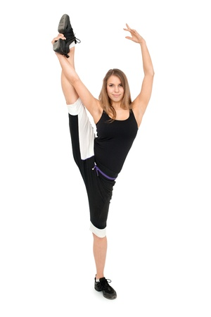 stretchy: Freestyle stretchy woman dancer against white background.  Stock Photo
