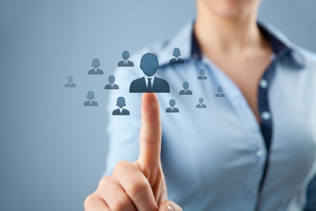 choose person: Human resources, CRM and social networking concept - female officer choose person  employee  represented by icon  Stock Photo