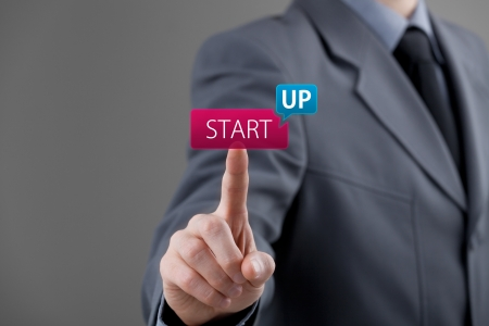 Man start his startup business. Investor accelerate start-up project concept. Stock Photo