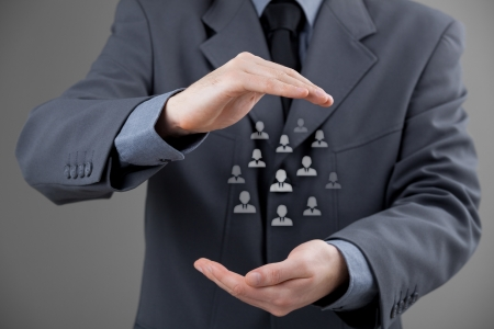 human capital: Customer care, care for employees, labor union, life insurance and marketing segmentation concepts. Protecting gesture of businessman or personnel and icons representing group of people.