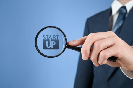 supervise: Man looks for startup business prepared to invest. Investor supervise the acceleration of start-up project. Stock Photo