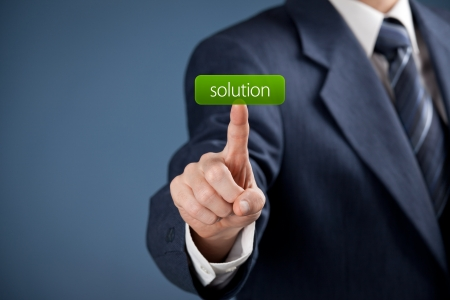 forefinger: Get solution concept. Businessman click on virtual button with text solution (look for easy solutions).  Stock Photo