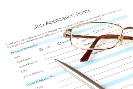 fill fill in: Job application form fill in by person over fifty years old  The issue of the employment of people over fifty  Human resources concept   Stock Photo