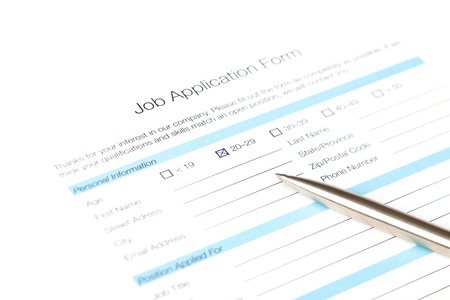fill fill in: Job application form fill in by young person  The issue of the employment of young people  fresh graduate   Human resources concept