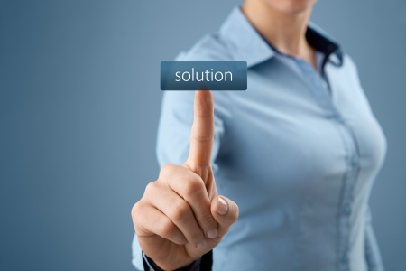 Get solution concept. Businesswoman click on virtual button with text solution (look for easy solutions). photo