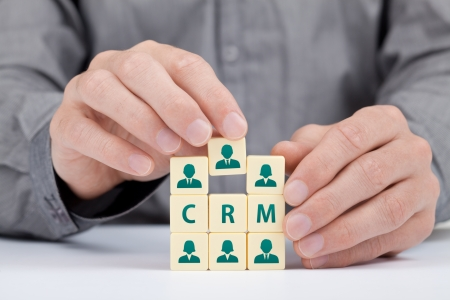 CRM  customer relationship management  concept  Businessman add new customer in database