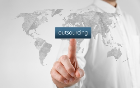 outsourcing: Outsourcing, globalization and global business strategy concept.  Stock Photo