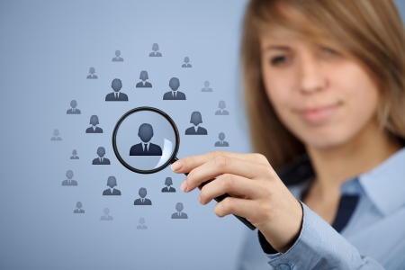 Human resources, CRM, data mining, assessment center and social media concept - woman looking for employee represented by icon.