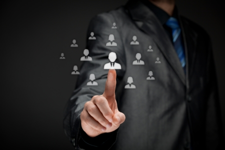 employ: Human resources officer  HR  choose employee standing out of the crowd  Select team leader concept   Stock Photo