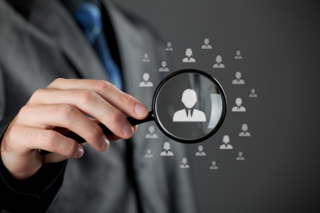 leader concept: Human resources officer  HR  choose employee standing out of the crowd  Select team leader concept  Stock Photo