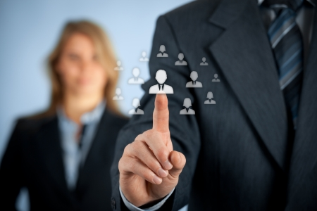 Human resources and CRM concept - officer and supervisor looking for employee represented by icon. Stock Photo