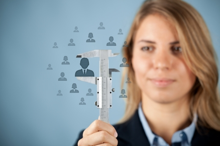 headhunter: Human resources officer measure career growth, employee improving, merit for company or success of employee, concept.