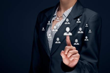Human resources officer  HR  choose employee standing out of the crowd  Select team leader concept   photo